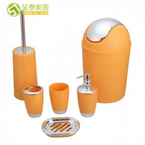 酒店用品漱口套件牙刷杯洗漱浴室六件套电镀塑料卫浴套