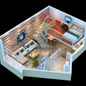 南京机房办公室效果图制作_整体3D户型俯视图设计